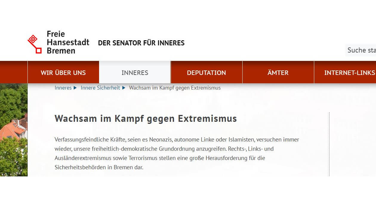 Screenshot der Website des Senators für Inneres